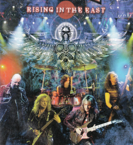 rising in the east music video poster with angel and a hairband with electric guitars