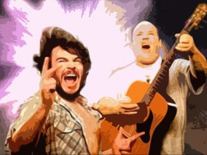 Tenacious D poster showing a singer and a guy on a guitar