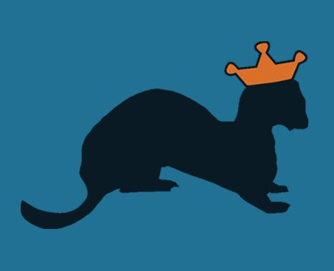 Black weasel wearing yellow crown on teal background