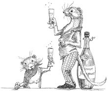 black and white cartoon weasels drinking champagne