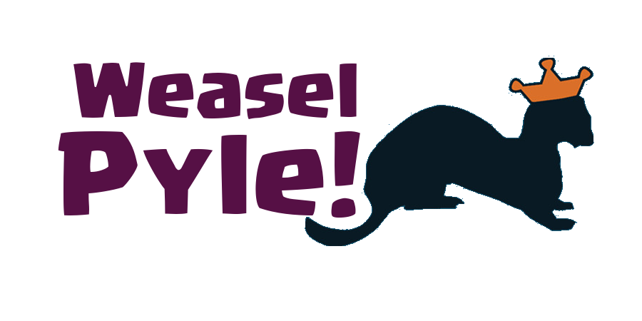 Purple Weasel Pyle text next to black Weasel logo with gold crown